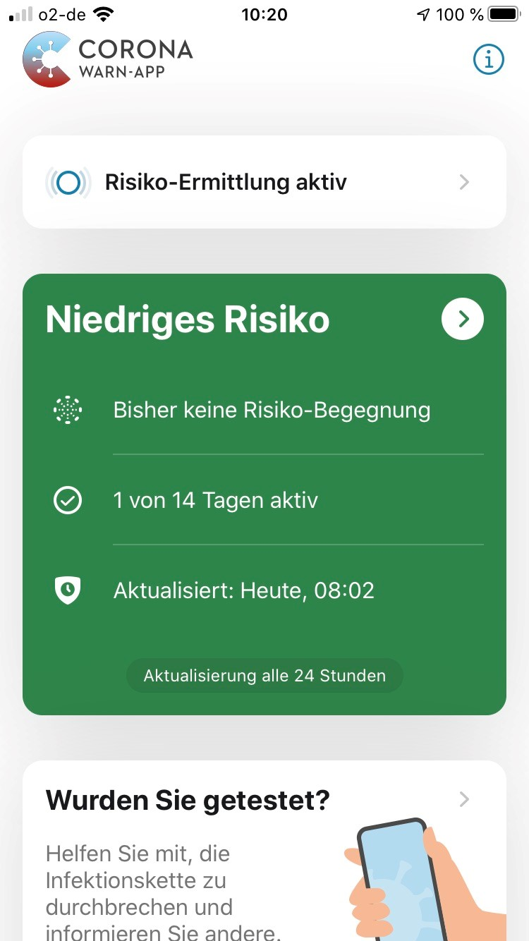 screenshot corona warn app